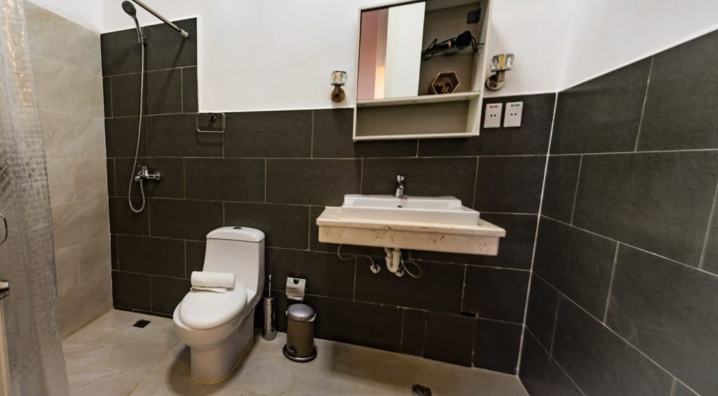 Blick auf das Badezimmer