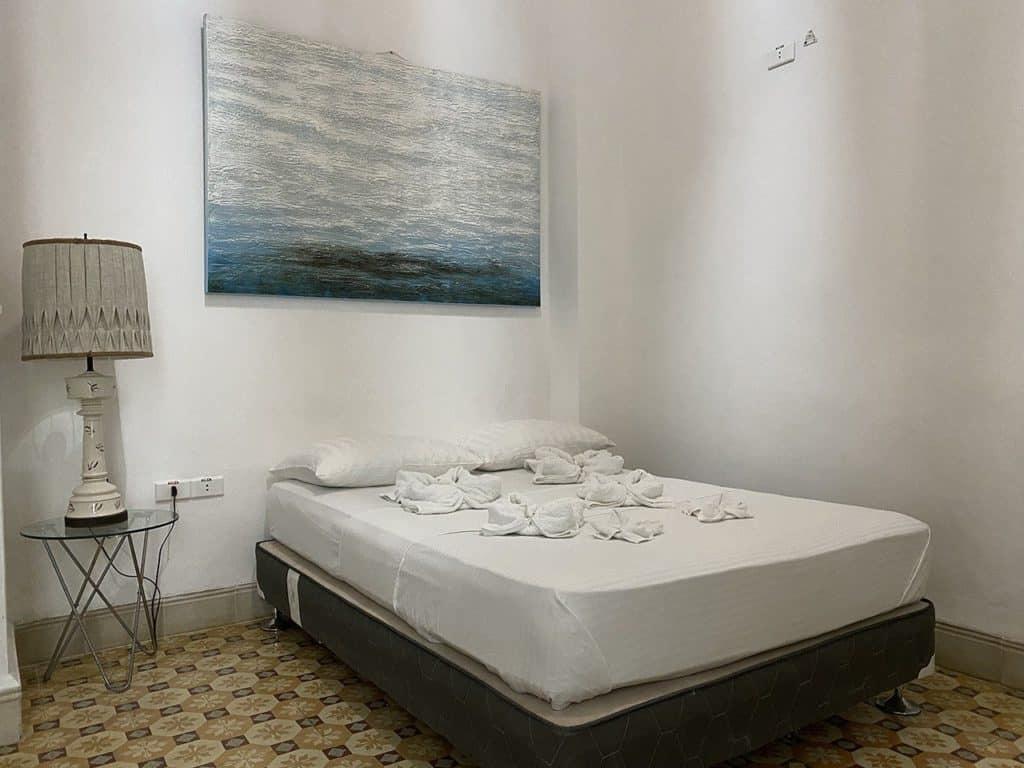Blick auf das Schlafzimmer